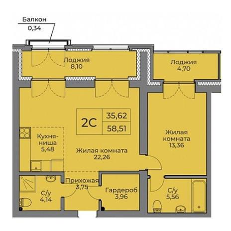 Вариант №3525, 2-комнатная квартира в жилом комплексе
