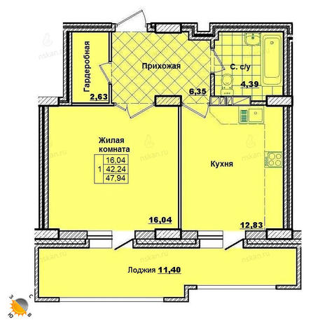 Вариант №2012, 1-комнатная квартира в жилом комплексе