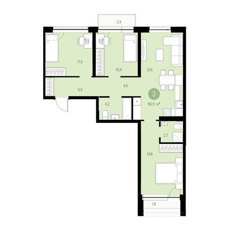 Вариант №4732, 4-комнатная квартира в жилом комплексе Европейский Берег