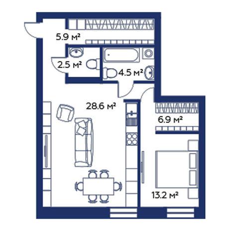 Вариант №3782, 2-комнатная квартира в жилом комплексе Облака