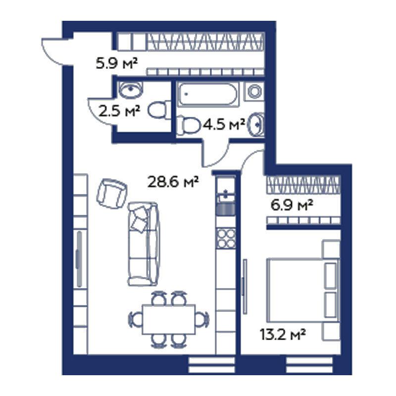 Планировка 2-комн. студия площадью 62.6 м<sup>2</sup> в ЖК Montblanc