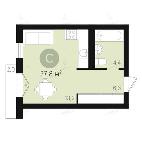 Вариант №2661, 1-комнатная квартира в жилом комплексе