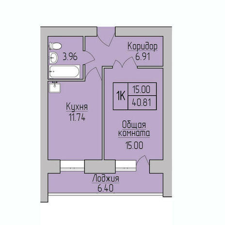 Вариант №3844, 1-комнатная квартира в жилом комплексе