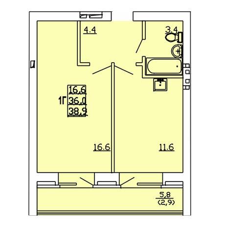 Вариант №4006, 1-комнатная квартира в жилом комплексе Акварельный 3.0
