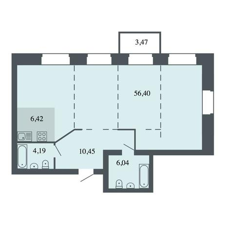 Вариант №4458, 4-комнатная квартира в жилом комплексе Спектр