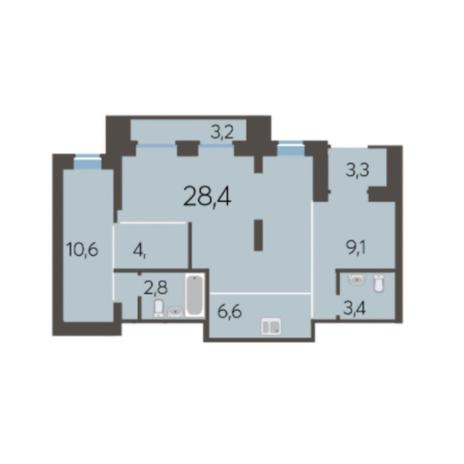 Вариант №5982, 2-комнатная квартира в жилом комплексе