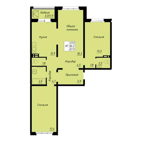 Вариант №5255, 3-комнатная квартира в жилом комплексе