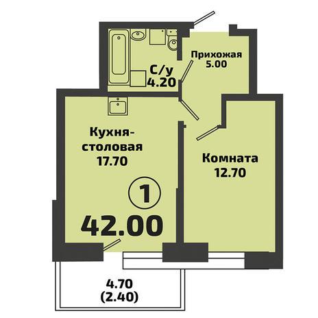 Вариант №3386, 1-комнатная квартира в жилом комплексе Приозерный