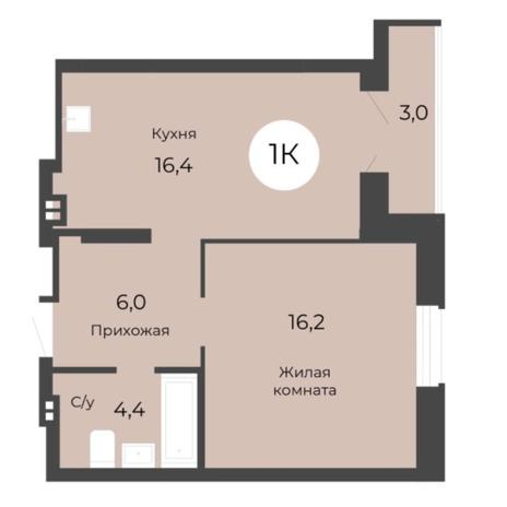 Вариант №5685, 1-комнатная квартира в жилом комплексе