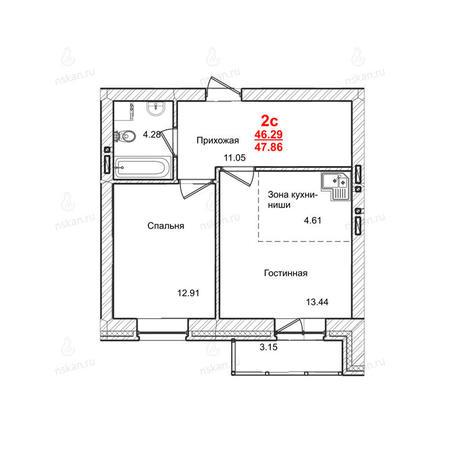 Вариант №1013, 2-комнатная квартира в жилом комплексе Маковского