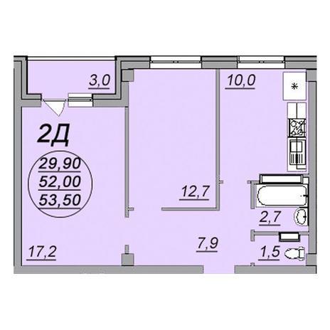 Вариант №3473, 2-комнатная квартира в жилом комплексе Чистая Слобода