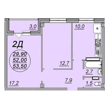 Вариант №3473, 2-комнатная квартира в жилом комплексе Аэропорт