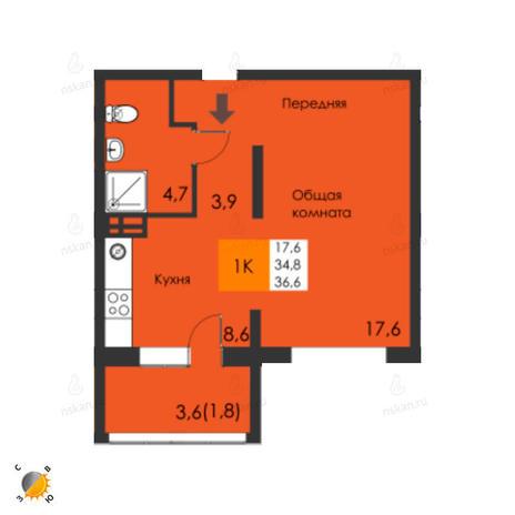 Вариант №2294, 1-комнатная квартира в жилом комплексе