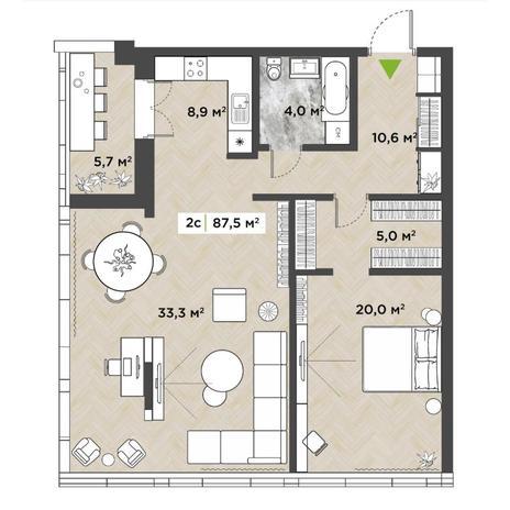 Вариант №5858, 2-комнатная квартира в жилом комплексе