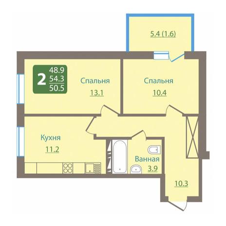 Вариант №3034, 2-комнатная квартира в жилом комплексе