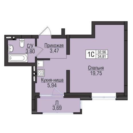 Вариант №5080, 1-комнатная квартира в жилом комплексе