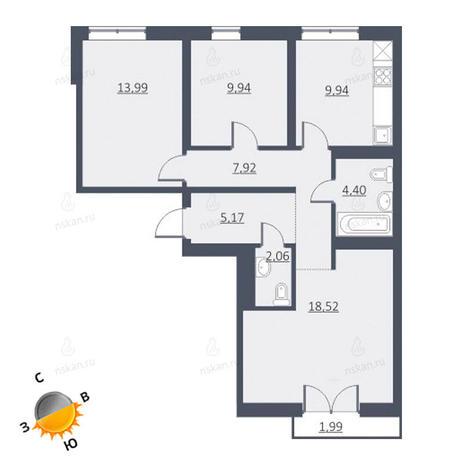 Вариант №1639, 4-комнатная квартира в жилом комплексе Европейский Берег