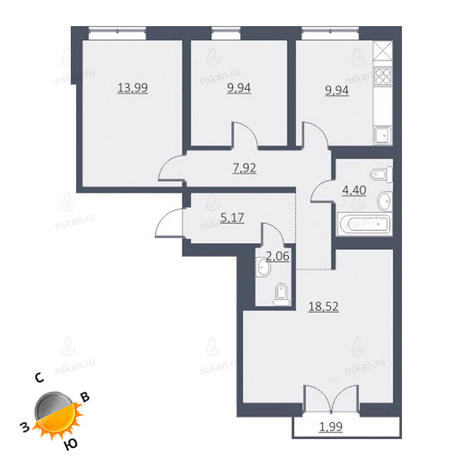 Вариант №1639, 4-комнатная квартира в жилом комплексе