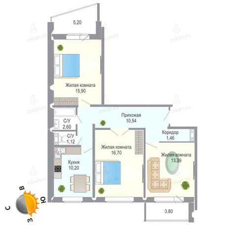 Вариант №1388, 3-комнатная квартира в жилом комплексе Чеховский