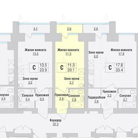 Вариант №1057, 1-комнатная квартира в жилом комплексе