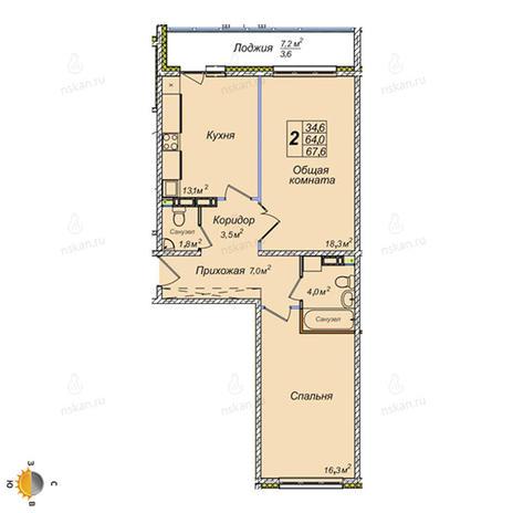 Вариант №2387, 2-комнатная квартира в жилом комплексе