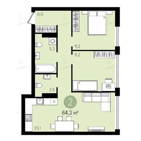 Вариант №2597, 3-комнатная квартира в жилом комплексе Квартал на Никитина
