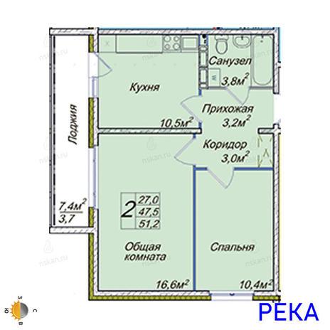 Вариант №2021, 2-комнатная квартира в жилом комплексе
