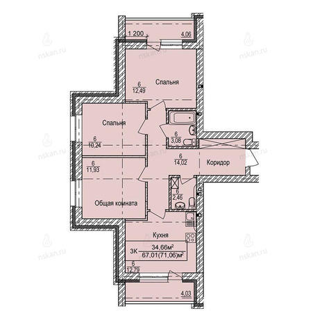 Вариант №3977, 3-комнатная квартира в жилом комплексе