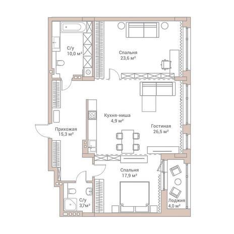 Вариант №3571, 3-комнатная квартира в жилом комплексе