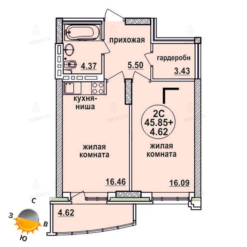Планировка 2-комн. студия площадью 45.85 м<sup>2</sup> в ЖК Заельцовский