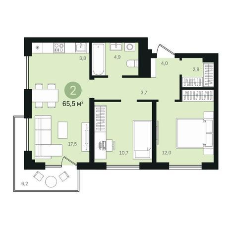 Вариант №6367, 3-комнатная квартира в жилом комплексе