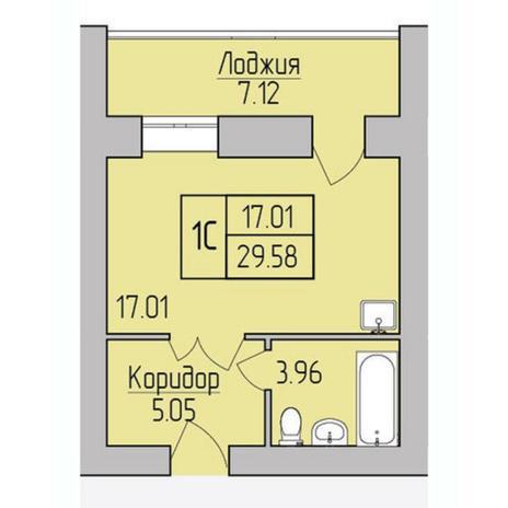 Вариант №5376, 1-комнатная квартира в жилом комплексе