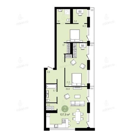 Вариант №2783, 3-комнатная квартира в жилом комплексе Европейский Берег