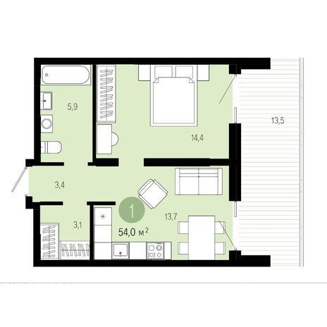 Вариант №4607, 2-комнатная квартира в жилом комплексе Европейский Берег