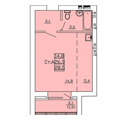 Вариант №3999, 1-комнатная квартира в жилом комплексе