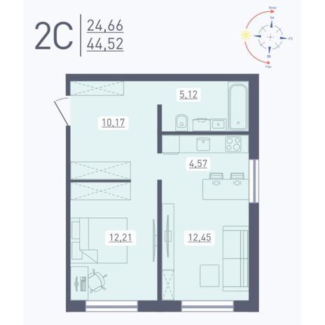 Вариант №5574, 2-комнатная квартира в жилом комплексе