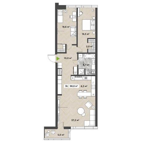 Вариант №5845, 3-комнатная квартира в жилом комплексе