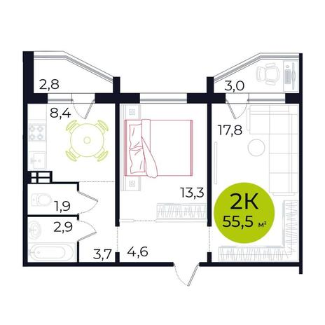 Вариант №5478, 2-комнатная квартира в жилом комплексе