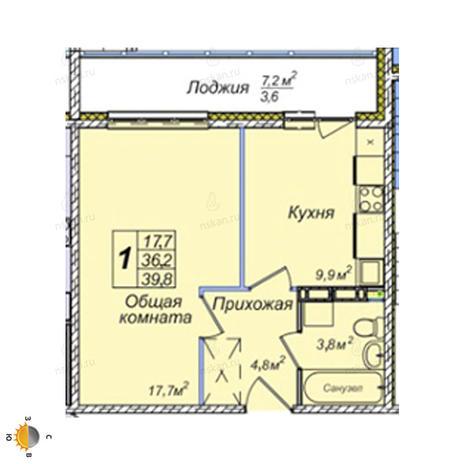 Вариант №2394, 1-комнатная квартира в жилом комплексе