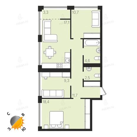 Вариант №1622, 3-комнатная квартира в жилом комплексе Панорама