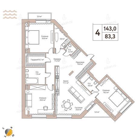Вариант №2434, 4-комнатная квартира в жилом комплексе