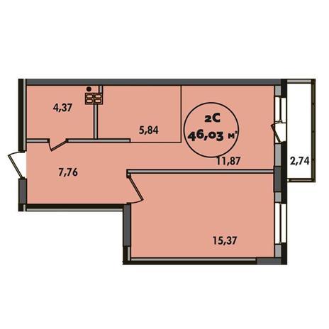 Вариант №5499, 2-комнатная квартира в жилом комплексе