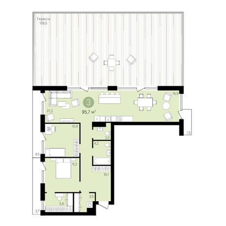 Вариант №3317, 3-комнатная квартира в жилом комплексе