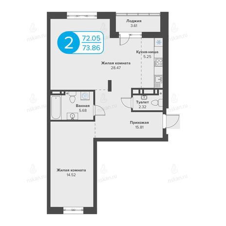 Вариант №2807, 2-комнатная квартира в жилом комплексе Огни Сибири