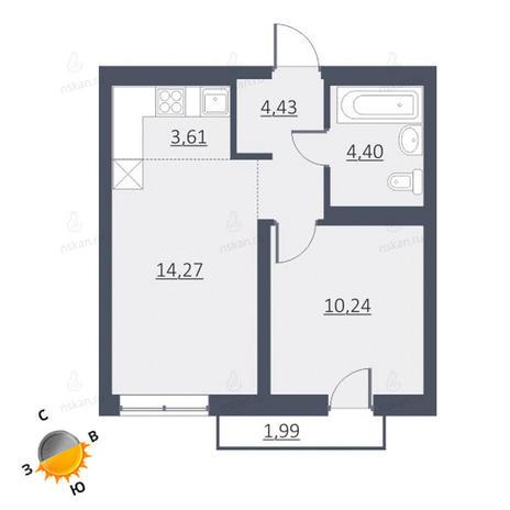 Вариант №1641, 2-комнатная квартира в жилом комплексе Дунаевский
