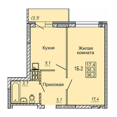 Вариант №4124, 1-комнатная квартира в жилом комплексе Новые Матрешки
