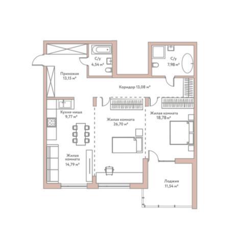 Вариант №5977, 3-комнатная квартира в жилом комплексе