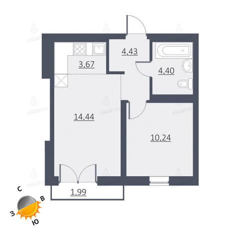 Вариант №1642, 2-комнатная квартира в жилом комплексе Дунаевский
