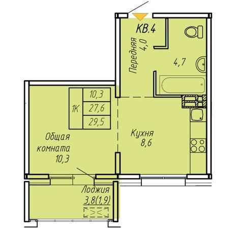 Вариант №6073, 1-комнатная квартира в жилом комплексе