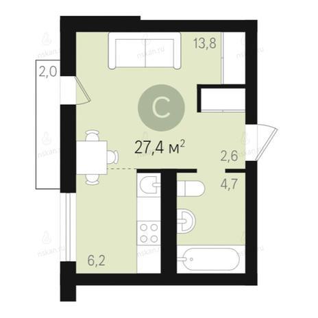 Вариант №2681, 1-комнатная квартира в жилом комплексе Дунаевский
